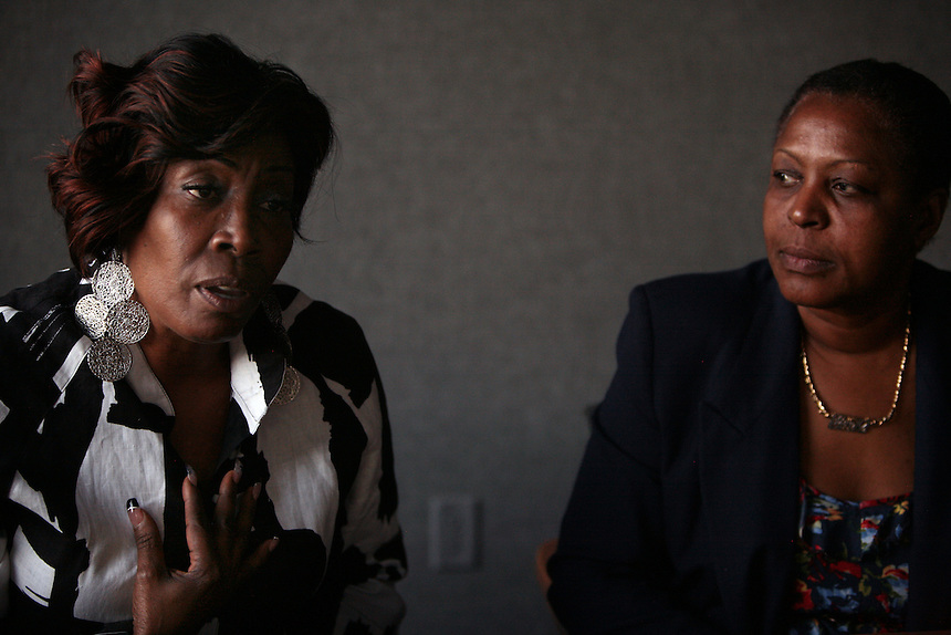 Target employee Sonia Williams, left, and Averil Bracey, right, talk about their hope that the union will win the election campaign for Target employees, photographed at UFCW 1500 offices in Garden City, NY on June 2, 2011.