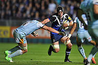 Ben Skirving takes on the Northampton Saints defence. Aviva Premiership match, between Bath Rugby and Northampton Saints on September 14, 2012 at the Recreation Ground in Bath, England. Photo by: Patrick Khachfe / Onside Images
