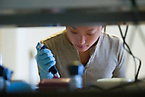 Stanford medical student in lab, Beckman Center