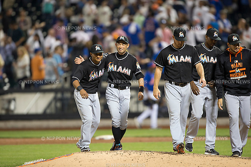 Ichiro Suzuki (Marlins),<br /> MAY 29, 2015 - MLB :<br /> Ichiro Suzuki of the Miami Marlins celebrates with his teammate during the Major League Baseball game against the New York Mets at Citi Field in Flushing, New York, United States. (Photo by Thomas Anderson/AFLO) (JAPANESE NEWSPAPER OUT)