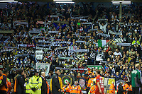 LIVERPOOL, ENGLAND - Thursday, October 4, 2012: Udinese Calcio supporters celebrate their side's 3-2 victory over Liverpool during the UEFA Europa League Group A match at Anfield. (Pic by David Rawcliffe/Propaganda)
