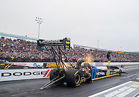 Oct 1, 2016; Mohnton, PA, USA; NHRA top fuel driver Leah Pritchett during qualifying for the Dodge Nationals at Maple Grove Raceway. Mandatory Credit: Mark J. Rebilas-USA TODAY Sports
