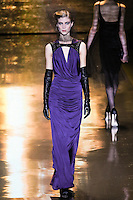 Lindsay Lullman walks runway in an outfit from the Badgley Mischka Fall 2011 fashion show, during Mercedes-Benz Fashion Week Fall 2011.
