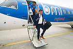 Spartak Trnava v St Johnstone...06.08.14  Europa League Qualifier 3rd Round<br /> Tommy Wright and Callum Davidson get off the plane after arriving in Bratislava.<br /> Picture by Graeme Hart.<br /> Copyright Perthshire Picture Agency<br /> Tel: 01738 623350  Mobile: 07990 594431
