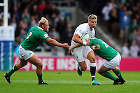 Harry Mallinder of England U20 takes on the Ireland U20 defence. World Rugby U20 Championship Final between England U20 and Ireland U20 on June 25, 2016 at the AJ Bell Stadium in Manchester, England. Photo by: Patrick Khachfe / Onside Images