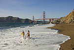 San Francisco: Baker Beach with Golden Gate Bridge in background.  Photo # 2-casanf83460.  Photo copyright Lee Foster