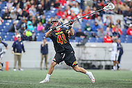 Annapolis, MD - February 11, 2017: Maryland Terrapins Bryce Young (41) shots the ball during game between Maryland vs Navy at  Navy-Marine Corps Memorial Stadium in Annapolis, MD.   (Photo by Elliott Brown/Media Images International)