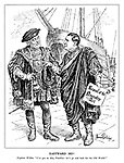 """Eastward Ho! Explorer Willkie. """"I've got an idea, Franklin: let's go and look for the Old World!"""" (dressed in medieval clothing Wendell Wilkie pursuades President Roosevelt to come and discover Europe with the Repeal of the Neutrality Act)"""