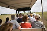At the Shark Valley Visitor Center, tourists ride the tram tour into the Everglades National Park in Florida.
