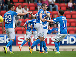St Johnstone v Falkirk&hellip;23.07.16  McDiarmid Park, Perth. Betfred Cup<br />Joe Shaughnessy celebrates his goal with Danny Swanson<br />Picture by Graeme Hart.<br />Copyright Perthshire Picture Agency<br />Tel: 01738 623350  Mobile: 07990 594431