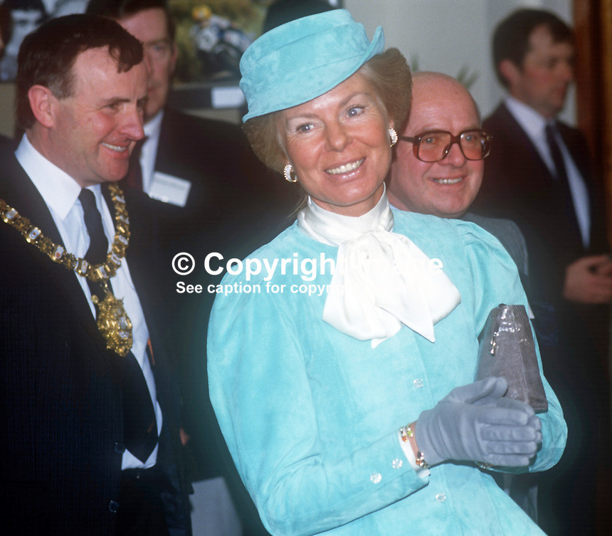 Duchess of Kent at the House of Sport, one of her engagments, in a two day visit to N Ireland March 1986. Also in the photo are John Carson, Lord Mayor of Belfast, and Victor Haslett, NI Sports Council. 19860205DK4<br /> <br /> Copyright Image from Victor Patterson, 54 Dorchester Park, <br /> Belfast, UK, BT9 6RJ<br /> <br /> t1: +44 28 9066 1296 (from Rep of Ireland 048 9066 1296)<br /> t2: +44 28 9002 2446 (from Rep of Ireland 048 9002 2446)<br /> m: +44 7802 353836<br /> <br /> e1: victorpatterson@me.com<br /> e2: victorpatterson@gmail.com<br /> <br /> www.victorpatterson.com<br /> <br /> Please see my Terms and Conditions of Use at VICTORPATTERSON.COM. It is IMPORTANT that you familiarise yourself with them.<br /> <br /> Images used on the Internet must be visibly watermarked i.e. &copy;VICTORPATTERSON.COM within the body of the image and copyright metadata must not be deleted. Images used on the Internet have a size restriction of 4kbs and are chargeable at the then current NUJ rates.<br /> <br /> This image is only available for the use of the download recipient i.e. television station, newspaper, magazine, book publisher, etc, and must not be passed on to any third party. It is also downloaded on condition that each and every usage is notified within 7 days to victorpatterson@me.com<br /> <br /> The right of Victor Patterson to be identified as the author is asserted in accordance with The Copyright Designs And Patents Act (1988).