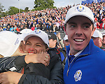 Europe's Rory McIlroy celebrates winning the Ryder Cup <br /> <br /> Photographer Ian Cook/CameraSport<br /> <br /> International Golf - 2014 Ryder Cup - Day 3 - Sunday 28th September 2014 - PGA Centenary Course - Gleneagles Hotel - Auchterarder, Scotland<br /> <br /> &copy; CameraSport - 43 Linden Ave. Countesthorpe. Leicester. England. LE8 5PG - Tel: +44 (0) 116 277 4147 - admin@camerasport.com - www.camerasport.com