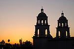 Sunrise and the bell towers of St. Augustine Cathedral, Tucson, Arizona