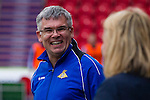Doncaster Rovers Belles 1 Chelsea Ladies 4, 20/03/2016. Keepmoat Stadium, Womens FA Cup. Doncaster Rovers Belles Head Coach Glenn Harris shares a joke with Chelsea Ladies Coach Emma Hayes. Photo by Paul Thompson.