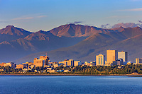 Downtown Anchorage city skyline along the shores of Cook Inlet, southcentral, Alaska.