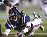 Ole Miss' Ja-Mes Logan (85) scores a touchdown in the 4th quarter at Vaught-Hemingway Stadium on Saturday, November 27, 2010. Mississippi State won 31-23.