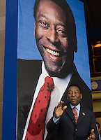 "Brazilian soccer legend Edson do Nascimento Pele inaugurates the photo exhibit ""Futbol...Momentos que no tienen precio"" ( Soccer.... moments without price)  at the National auditorium in Mexico City, March 30, 2006. The photo exhibit presents 174 photos of the best moments in the soccer World Cups. Photo by Javier Rodriguez"
