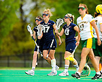 1 May 2010: University of New Hampshire Wildcat midfielder Hayley Rausch (17), a Sophomore from Severna Park, MD, smiles with teammates after scoring against the University of Vermont Catamounts at Moulton Winder Field in Burlington, Vermont. The visiting Wildcats defeated the Lady Catamounts 18-10 in the last game of the 2010 regular season. Mandatory Photo Credit: Ed Wolfstein Photo