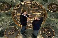 TALLAHASSEE, FL. 2/16/05-Senate President Tom Lee, R-Brandon, left, and House Speaker Allan Bense, R-Panama City, plan to work hard this legislative session restoring the working relationship between their two chambers. At the request of the Tampa Tribune the two met for this photo, Wednesday at Capitol in Tallahassee. COLIN HACKLEY PHOTO