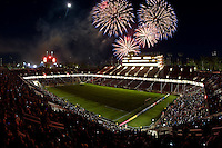 Fireworks show is pictured after the game at Stanford Stadium in Palo Alto, California on June 30th, 2012.  San Jose Earthquakes defeated LA Galaxy, 4-3.