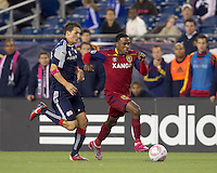 Real Salt Lake forward Robbie Findley (10) moves down the wing as New England Revolution forward Marko Perovic (29) closes. Real Salt Lake defeated the New England Revolution, 2-1, at Gillette Stadium on October 2, 2010.