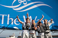 12th October  2010. Almeria. Spain..Pictures of The Wave Muscat celebrating after winning  the Extreme Sailing Series 2010