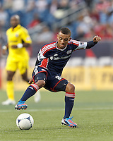 New England Revolution forward Fernando Cardenas (80) controls the ball. In a Major League Soccer (MLS) match, the New England Revolution tied the Columbus Crew, 0-0, at Gillette Stadium on June 16, 2012.