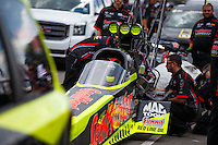 Jul 24, 2016; Morrison, CO, USA; NHRA top fuel driver J.R. Todd during the Mile High Nationals at Bandimere Speedway. Mandatory Credit: Mark J. Rebilas-USA TODAY Sports