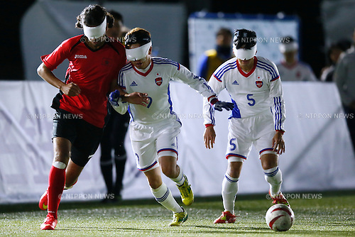 (L to R) Kento Kato, Tomonari Kuroda (JPN), NOVEMBER 18, 2014 - Football 5-a-sider : IBSA Blind Football World Championships 2014 Group A match between Japan 0-0 Morocco at National Yoyogi Stadium Futsal Court, Tokyo, Japan. [1180]