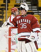 Ryan Carroll (Harvard - 35) - The Harvard University Crimson defeated the Boston University Terriers 5-4 in the 2011 Beanpot consolation game on Monday, February 14, 2011, at TD Garden in Boston, Massachusetts.