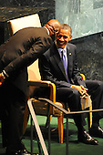 United States President Barack Obama greets members of the United Nations Secretary General's Council as he speaks to the UN General Assembly in New York, New York, Wednesday, September 21, 2011at UN Headquarters..Credit: Aaron Showalter / Pool via CNP