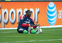 21 April 2012: Chicago Fire goalkeeper Sean Johnson #25 in action during the warm-up in a game between the Chicago Fire and Toronto FC at BMO Field in Toronto..The Chicago Fire won 3-2...