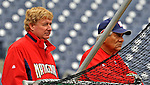13 April 2008: Washington Nationals' General Manager Jim Bowden (left) and Bench Coach Pat Corrales (right) watch batting practice from behind the batting cage prior to a game against the Atlanta Braves at Nationals Park, in Washington, DC. The Nationals ended their 9-game losing streak by defeating the Braves 5-4 in the last game of their 3-game series...Mandatory Photo Credit: Ed Wolfstein Photo