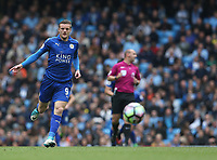 Leicester City's Jamie Vardy<br /> <br /> Photographer Stephen White/CameraSport<br /> <br /> The Premier League - Manchester City v Leicester City - Saturday 13th May 2017 - Etihad Stadium - Manchester<br /> <br /> World Copyright &copy; 2017 CameraSport. All rights reserved. 43 Linden Ave. Countesthorpe. Leicester. England. LE8 5PG - Tel: +44 (0) 116 277 4147 - admin@camerasport.com - www.camerasport.com