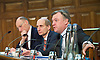 Ed Balls MP Shadow Chancellor of the Exchequer speaking at the UK Infrastructure Conference at ICE, One Great George Street, London, Great Britain on 3rd February 2015 <br /> <br /> Ed Balls MP <br /> <br /> Lord Andrew Adonis , Shadow Infrastructure Minister <br /> <br /> Sir John Armitt<br /> <br /> Photograph by Elliott Franks <br /> <br /> Image licensed to Elliott Franks Photography Services