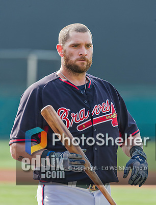 19 March 2015: Atlanta Braves left fielder Jonny Gomes awaits his turn in the batting cage prior to a Spring Training game against the Miami Marlins at Champion Stadium in the ESPN Wide World of Sports Complex in Kissimmee, Florida. The Braves defeated the Marlins 6-3 in Grapefruit League play. Mandatory Credit: Ed Wolfstein Photo *** RAW (NEF) Image File Available ***