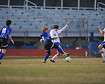 Oxford's Blake Hembry (15) vs. Saltillo in boys high school soccer action at Oxford High School in Oxford, Miss. on Thursday, January 27, 2011.