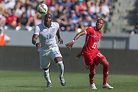 Carson, CA - Sunday, February 8, 2015: Jozy Altidore (17) of the USMNT and Alfredo Stephens (13) of Panama. The USMNT defeated Panama 2-0 during an international friendly at the StubHub Center