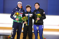 SPEEDSKATING: CALGARY: Olympic Oval, 25-02-2017, ISU World Sprint Championships, Podium 1000m Ladies, Jorien ter Mors (NED), Nao Kodaira (JPN), Heather Bergsma (USA), ©photo Martin de Jong