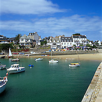 France, Brittany, Locquirec: View over harbour.
