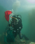 LA Waterkeeper diver uses lift bag to relocate sea urchins from an urchin barren off Palos Verdes, CA.