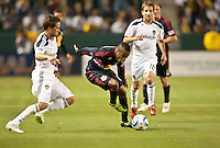 CARSON, CA – May 7, 2011: New York Red Bull midfielder Dane Richards (19) moves the ball past an LA Galaxy defender Todd Dunivant (2) during the match between LA Galaxy and New York Red Bull at the Home Depot Center, May 7, 2011 in Carson, California. Final score LA Galaxy 1, New York Red Bull 1.