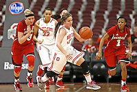 Ohio State Buckeyes guard Cait Craft (13) races up court with the ball in first half action at Value City Arena on February 20,  2014. (Chris Russell/Dispatch Photo)