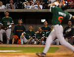 Miami's Blake Tekotte hits a high pop fly foul..(Chris Machian/Prairie Pixel Group)