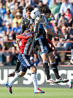 Santa Clara, California - Sunday May 13th, 2012: Blair Gavin of Chivas USA is sandwiched between Chris Wondolowski and Alan Gordon of San Jose Earthquakes during a Major League Soccer match at Buck Shaw Stadium