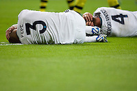 Pepe and Sergio Ramos after a head-to-head crash