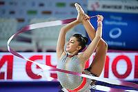 VARVARA FILIOU of Greece performs with ribbon at 2016 European Championships at Holon, Israel on June 18, 2016.