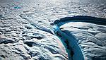 Blue Melt River, Petermann Glacier, in remote northwestern Greenland, on Nares Strait.