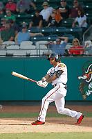 Down East Wood Ducks outfielder Ledarious Clark (8) at bat during a game against the Salem Red Sox at Grainger Stadium on April 16, 2017 in Kinston, North Carolina. Salem defeated Down East 9-2. (Robert Gurganus/Four Seam Images)