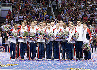 Gabby Douglas, McKayla Maroney, Aly Raisman, Kyla Ross, Jordyn Wieber, Sarah Finnegan, Anna Li, Elizabeth Price, Jake Dalton, Jonathan Horton, Danell Leyva, Sam Mikulak, John Orozco, Chris Brooks, Steven Legendre and Alexander Naddour pose together for group photos after being named to be on USA Men's and Women's Gymnastics team for London 2012 during 2012 US Olympic Trials Gymnastics Finals at HP Pavilion in San Jose, California on July 1st, 2012.